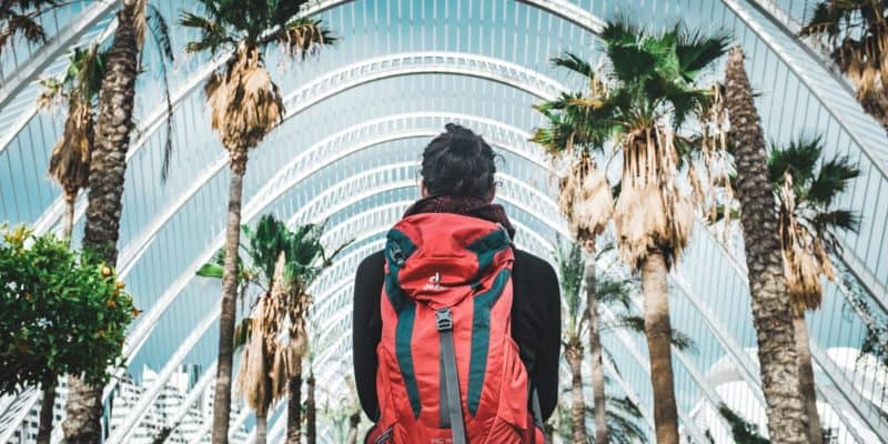Man with backpack travelling