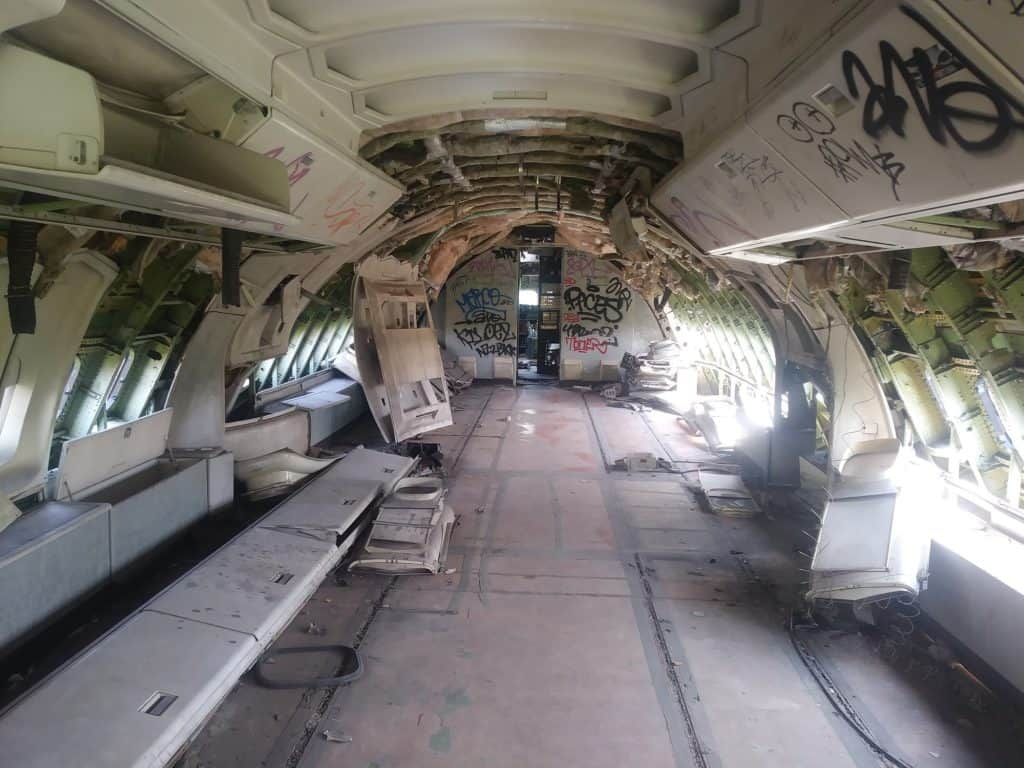 Inside one of the planes of Bangkok's graveyard