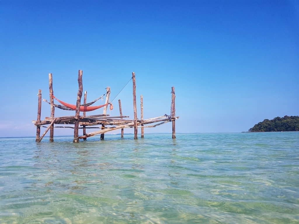 Hammocks at Clear Water Bay, Koh Rong Sanloem, Cambodia