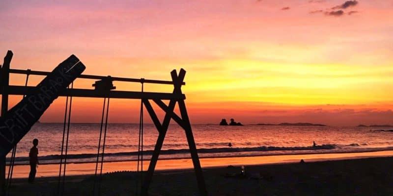 Sunset on Ao Khai Beach from Drift Bar, Laem Mae Phim